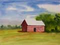 Watercolor painting of a small barn.
