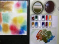 A setup demontrating watercolor paints in a color wheel..