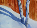 Watercolor painting showing aspen trees in the snow with a forest in the background.